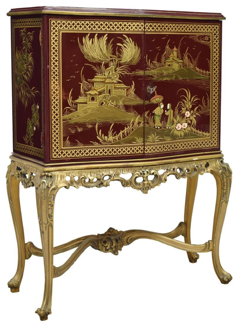 CHINOISERIE RED LACQUER BAR CABINET ON STAND
