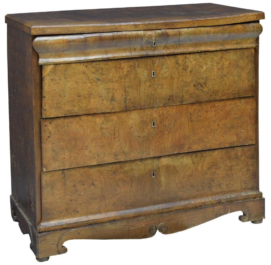 DANISH EMPIRE FITTED BURLED WORK CHEST OF DRAWERS