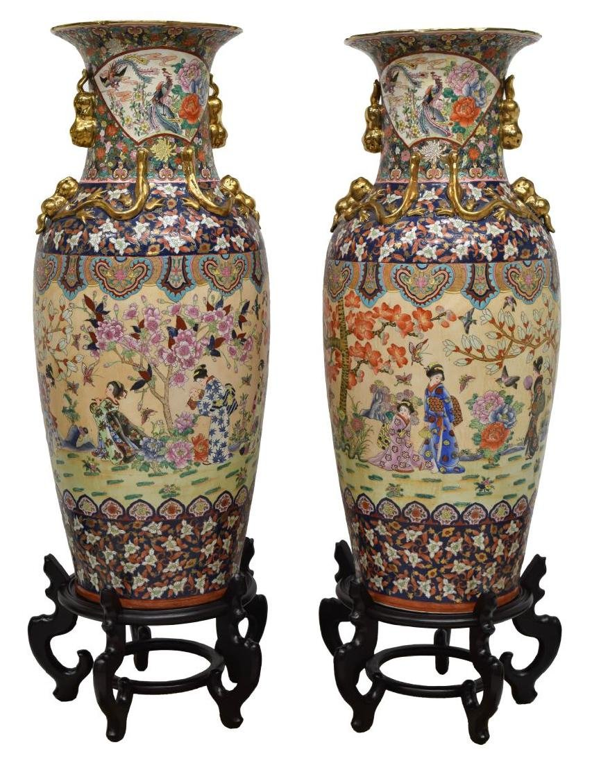 (2) LARGE CHINESE GILT FAMILLE ROSE FLOOR VASES