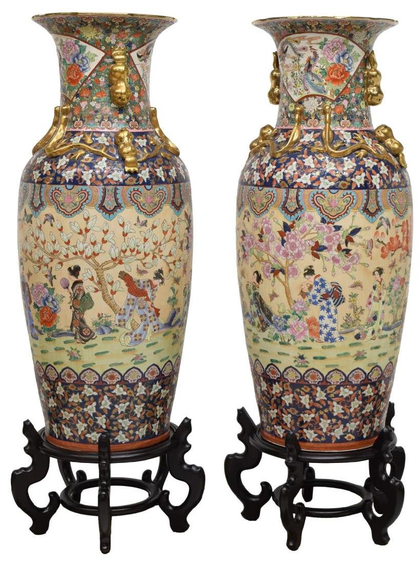 (2) LARGE CHINESE GILT FAMILLE ROSE FLOOR VASES - 2