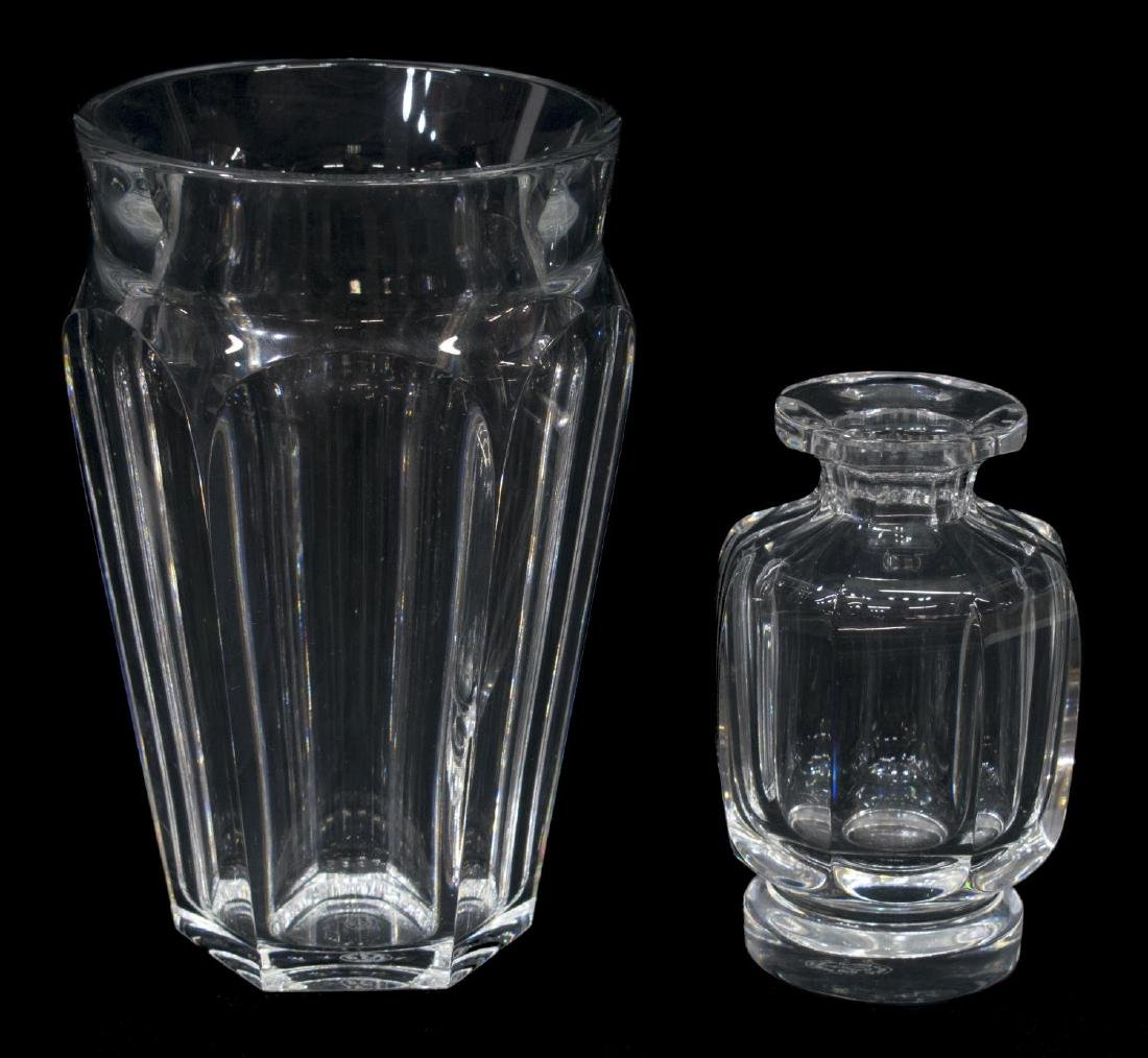 (2) BACCARAT COLORLESS CRYSTAL VASE & SMALL BOTTLE