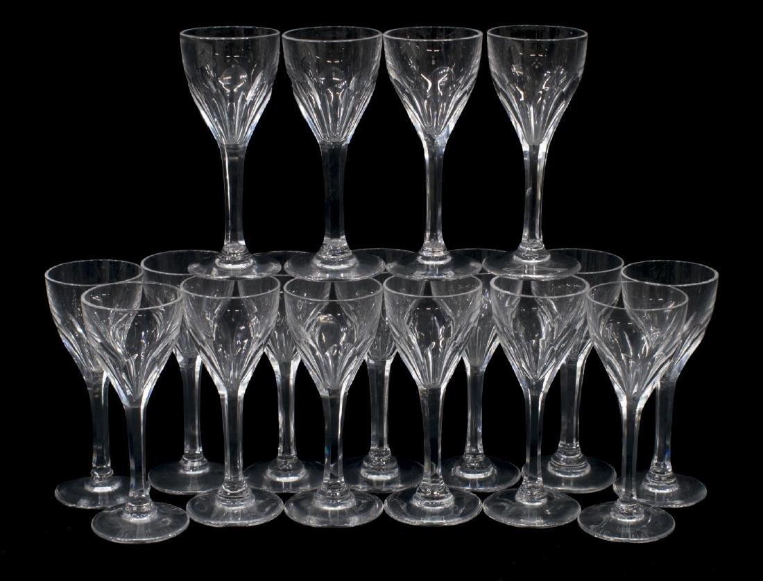 (17) ST LOUIS BRISTOL CUT CRYSTAL CORDIAL GLASSES