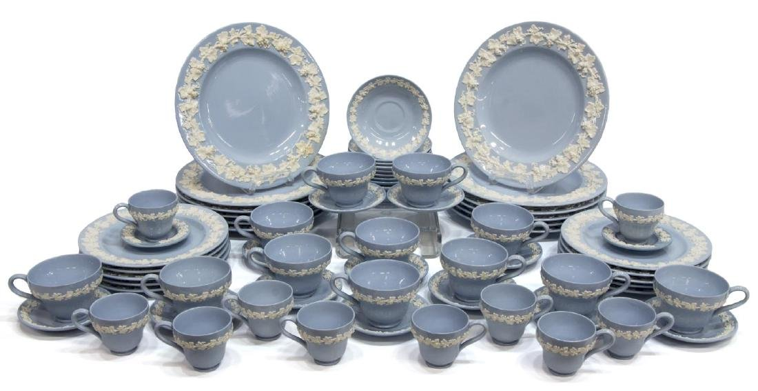 (70) WEDGWOOD BLUE QUEENSWARE DINNER SERVICE