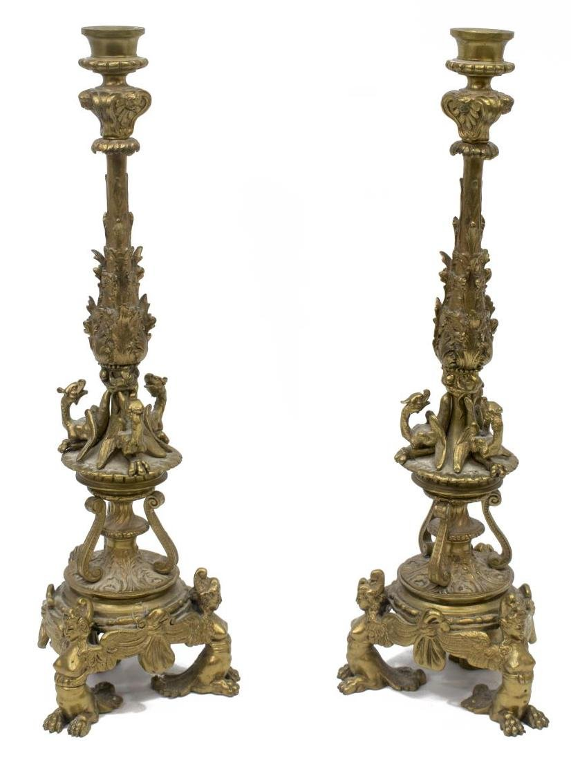 (2) ANTIQUE GERMAN BRONZE FIGURAL CANDLESTICKS