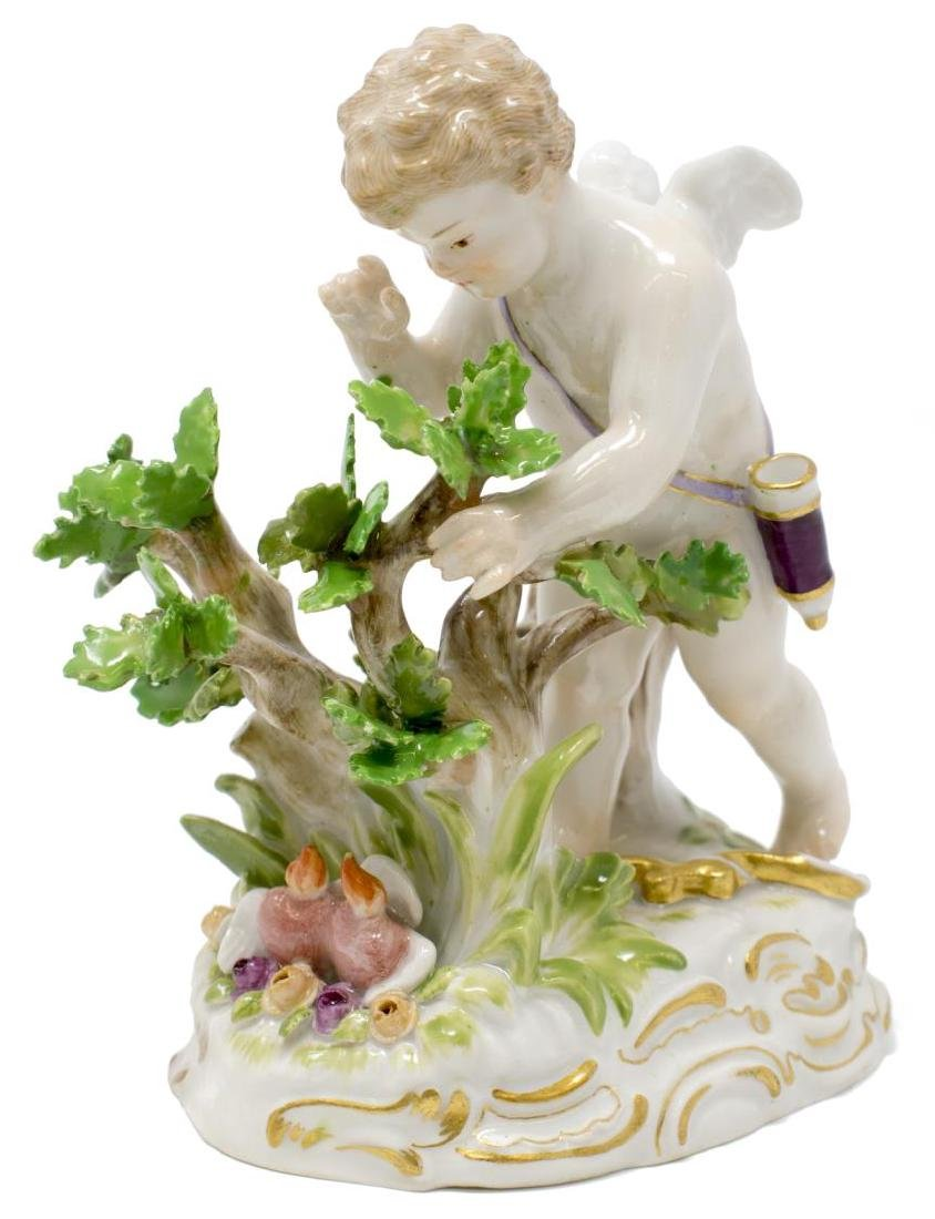 MEISSEN PORCELAIN FIGURE, CUPID W/ BLAZING HEARTS