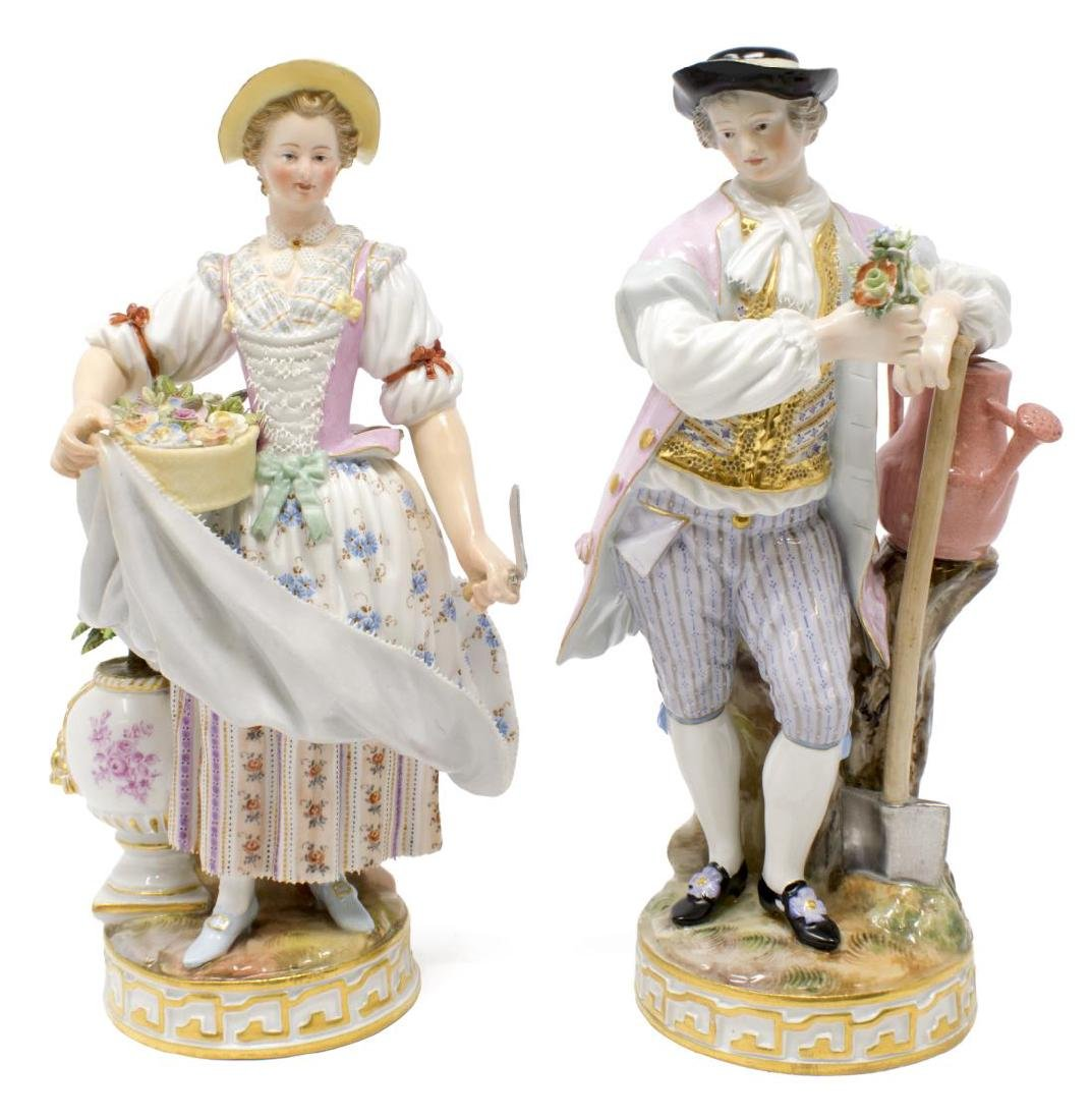(2) MEISSEN PORCELAIN FIGURES, GIRL & BOY GARDENER