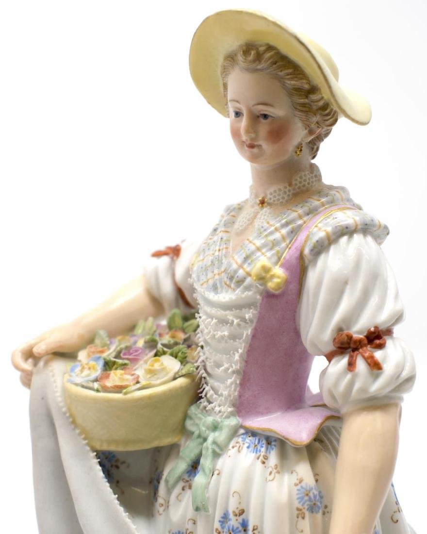 (2) MEISSEN PORCELAIN FIGURES, GIRL & BOY GARDENER - 2