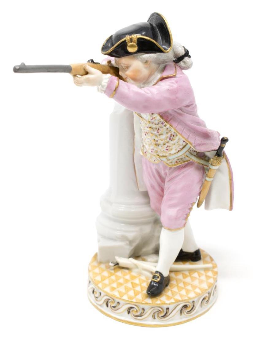 MEISSEN PORCELAIN FIGURE, SOLDIER WITH GUN