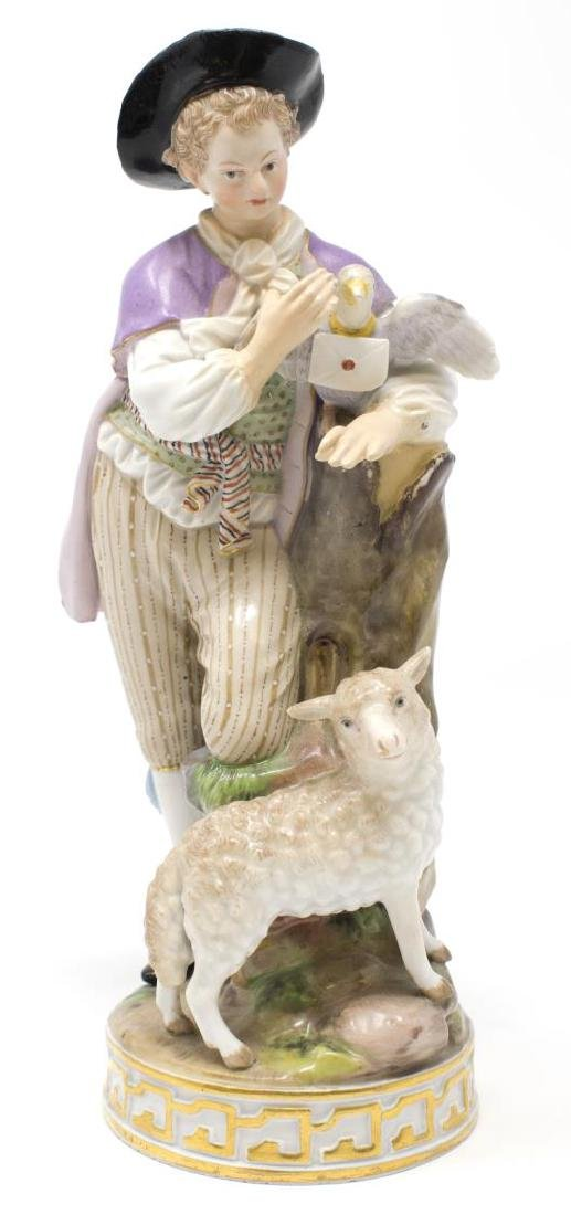 MEISSEN PORCELAIN FIGURE, YOUNG MAN WITH PIGEON