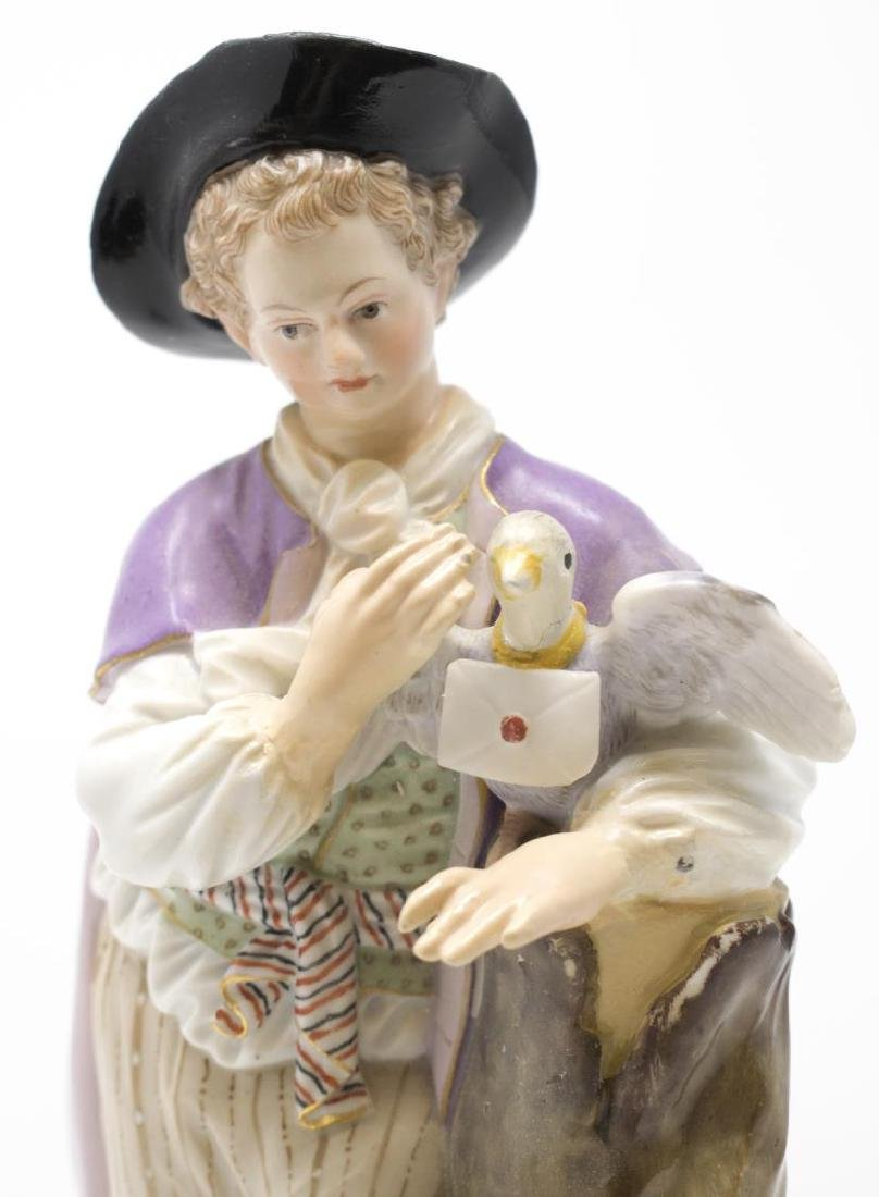 MEISSEN PORCELAIN FIGURE, YOUNG MAN WITH PIGEON - 2