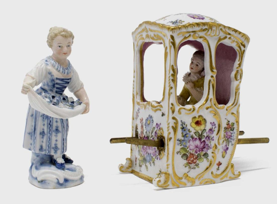 (2) PORCELAIN FEMALE FIGURES WOMAN IN SEDAN CHAIR
