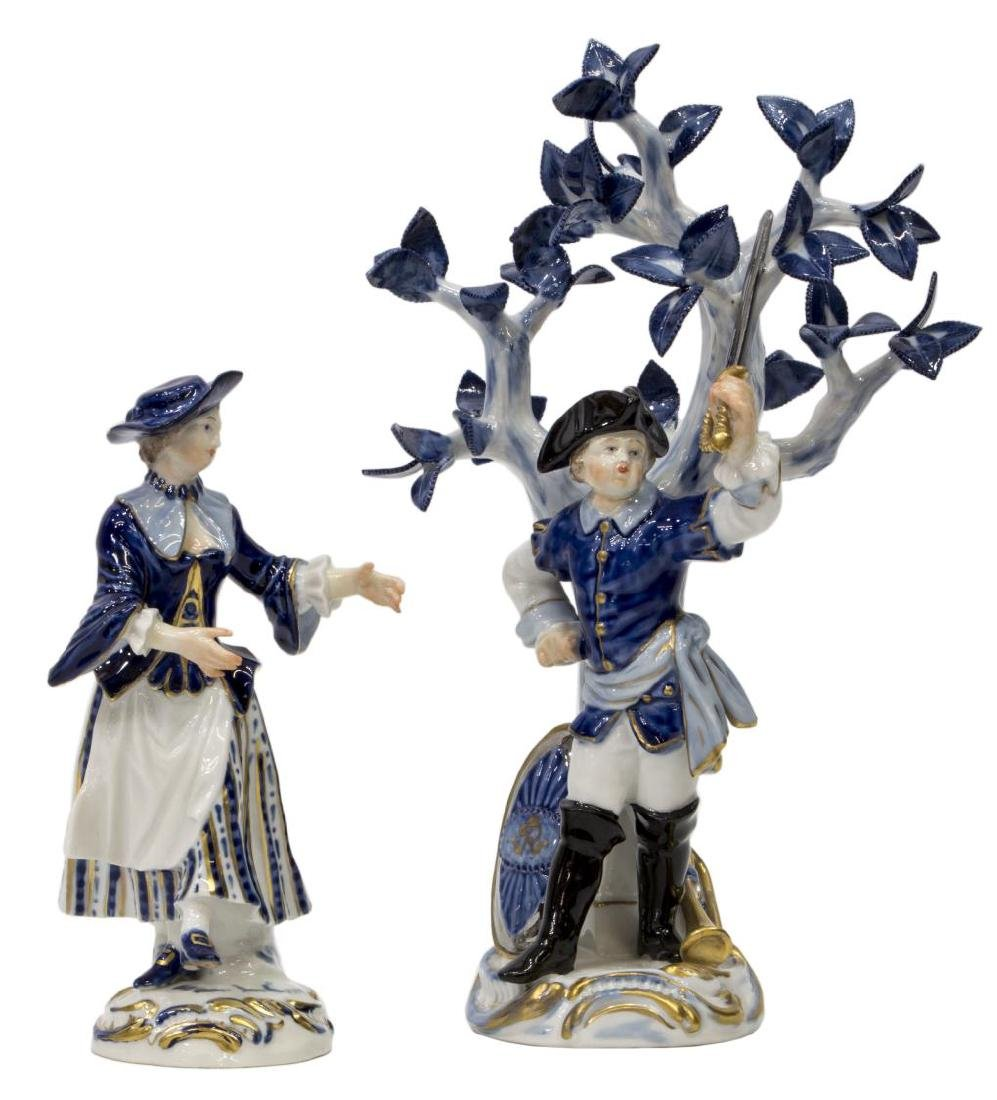 (2) MEISSEN PORCELAIN FIGURES BOY WITH SWORD