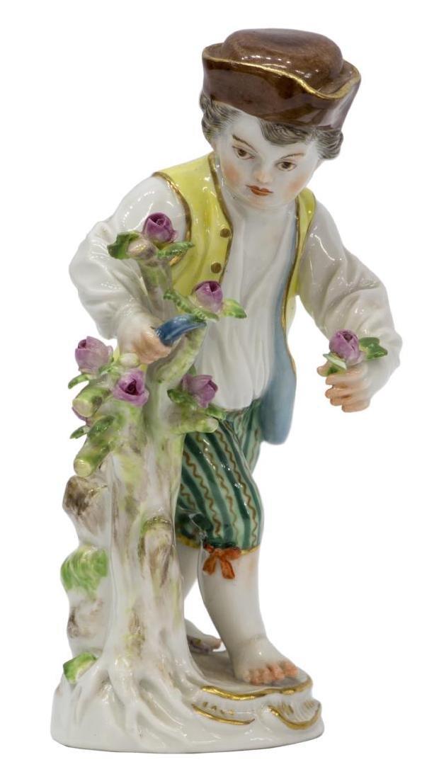 MEISSEN PORCELAIN FIGURE BOY CUTTING FLOWERS