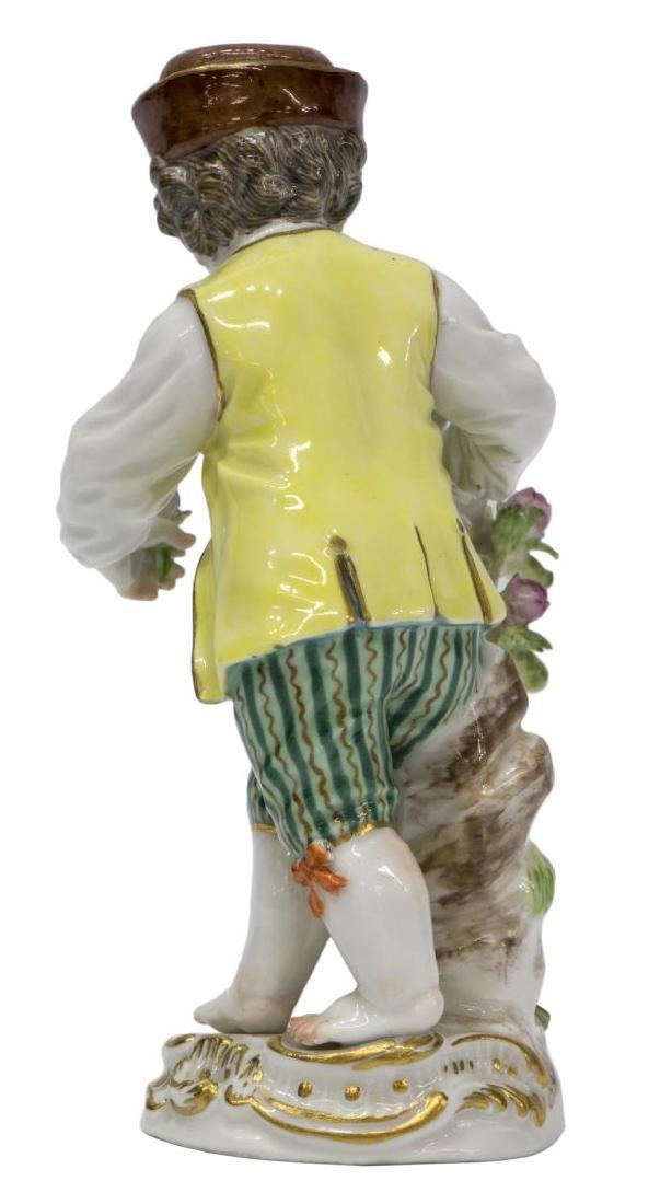 MEISSEN PORCELAIN FIGURE BOY CUTTING FLOWERS - 2