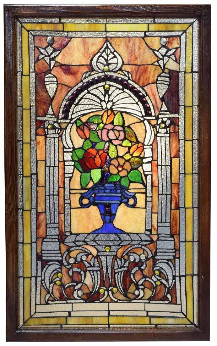 VINTAGE FLORAL PATTERNED STAINED GLASS WINDOW