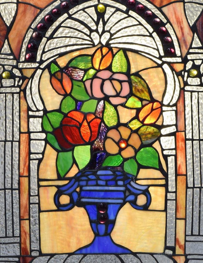 VINTAGE FLORAL PATTERNED STAINED GLASS WINDOW - 2