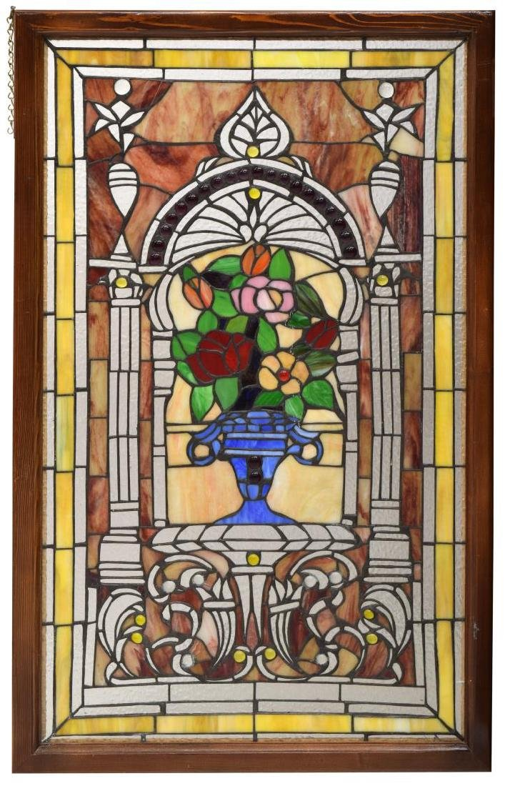 VINTAGE FLORAL PATTERNED STAINED GLASS WINDOW - 3
