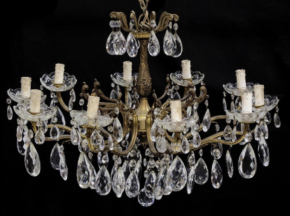 ITALIAN GILT METAL & CRYSTAL TEN-LIGHT CHANDELIER