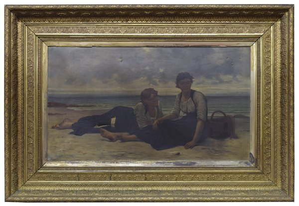 GILT FRAMED PAINTING, WOMEN AT SHORE, A. DELORME