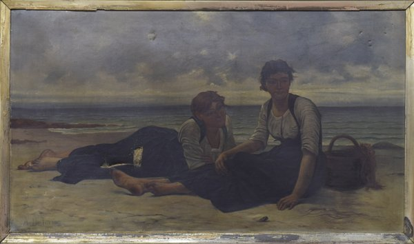 GILT FRAMED PAINTING, WOMEN AT SHORE, A. DELORME - 2