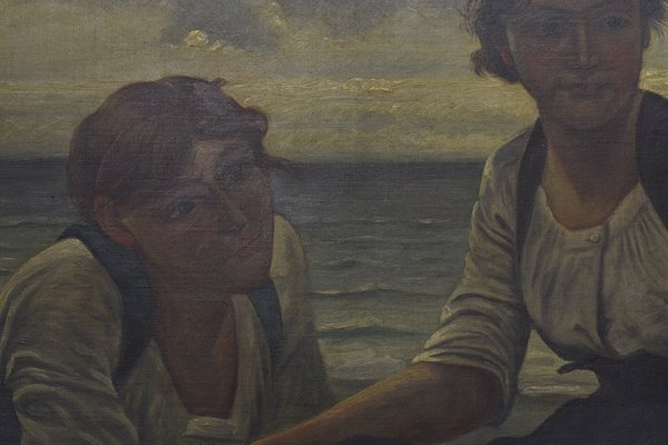 GILT FRAMED PAINTING, WOMEN AT SHORE, A. DELORME - 3