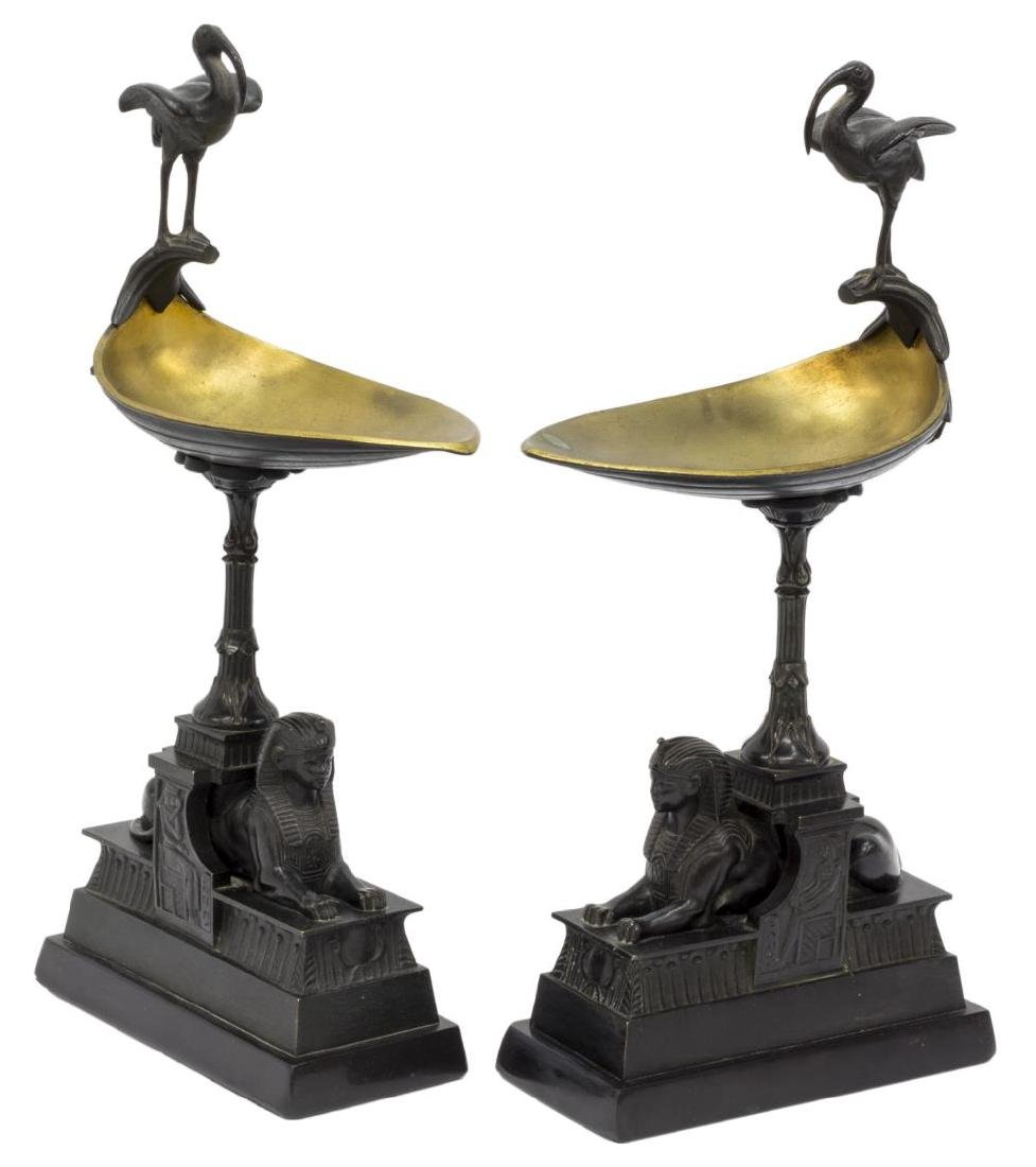 (2) FRENCH EMPIRE STYLE SPHINX IBIS CANDLE HOLDERS