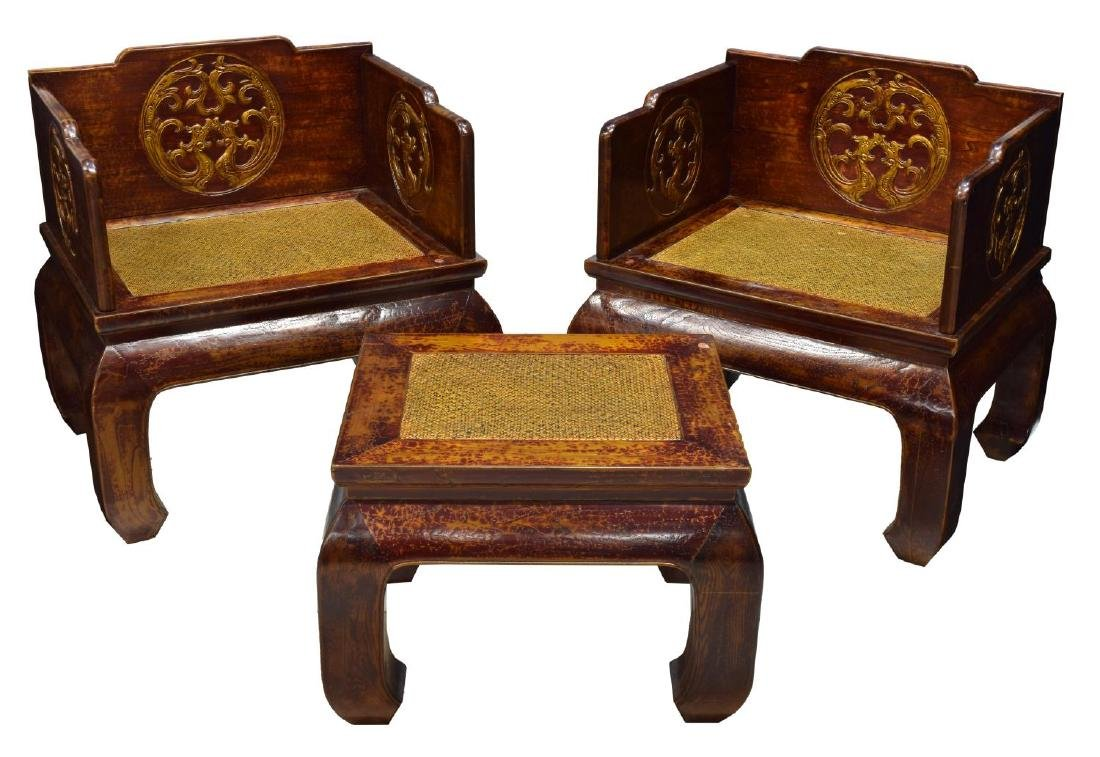 (3) CHINESE RED LACQUER ALTAR THRONE CHAIR & TABLE