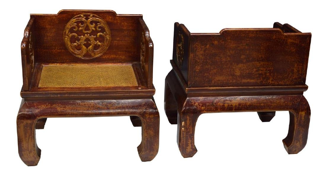(3) CHINESE RED LACQUER ALTAR THRONE CHAIR & TABLE - 2