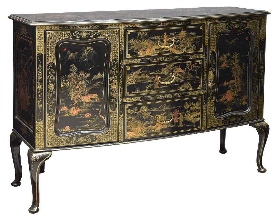 VINTAGE CHINOISERIE BLACK LACQUER GILT SIDEBOARD