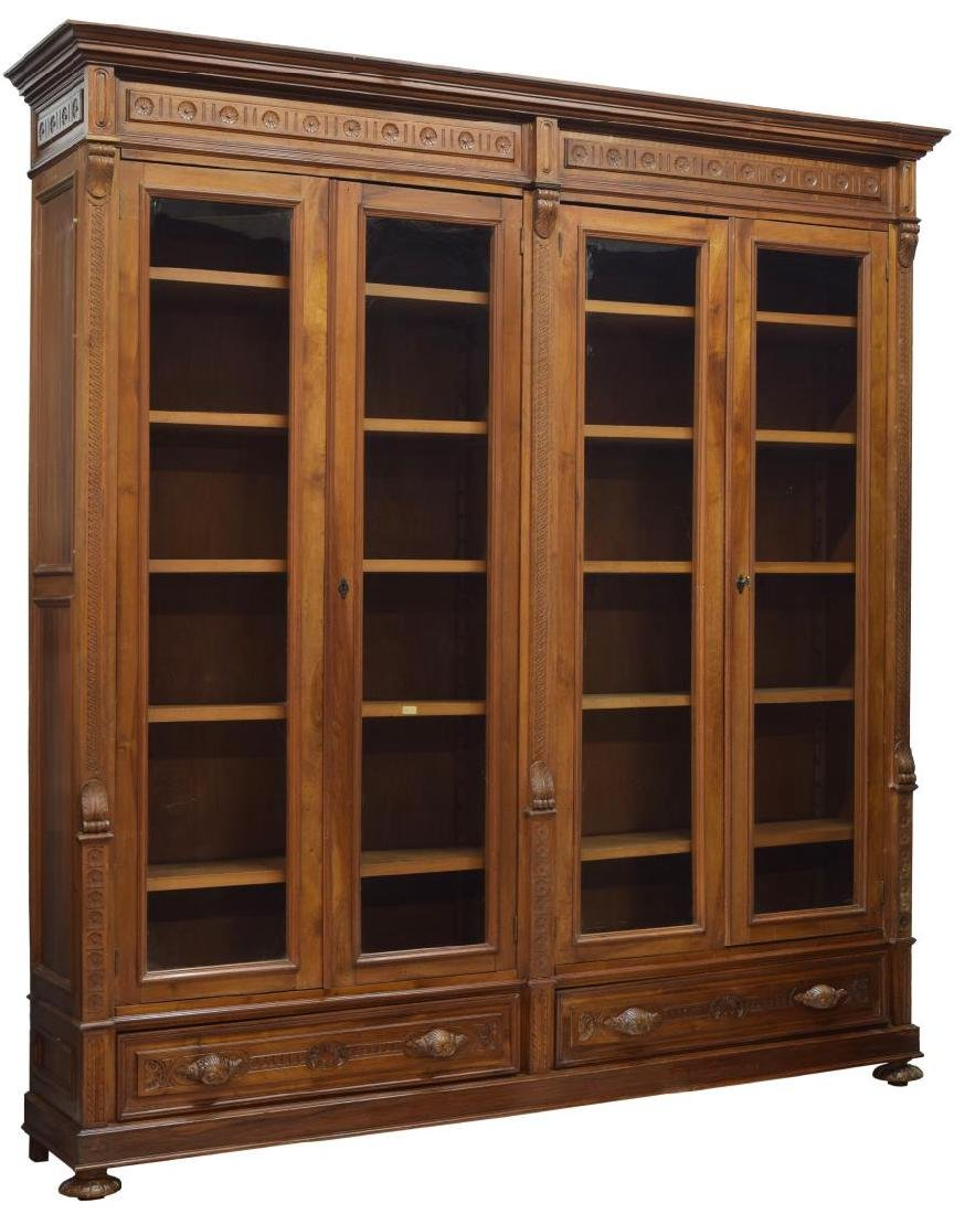 LARGE ITALIAN CARVED WALNUT BOOKCASE