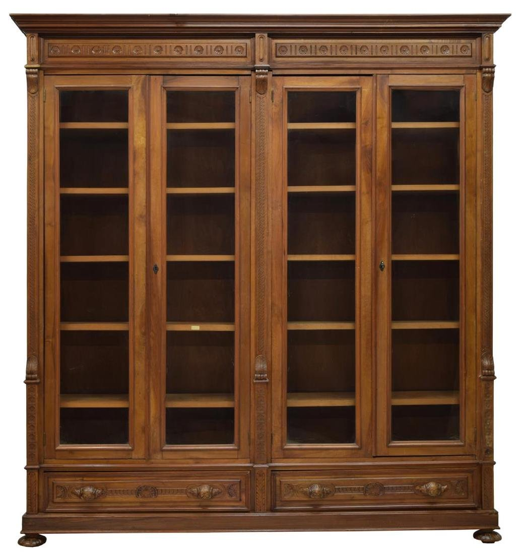 LARGE ITALIAN CARVED WALNUT BOOKCASE - 2