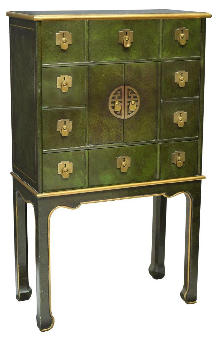 ASIAN APOTHECARY-STYLE PARCEL GILT CHEST ON STAND