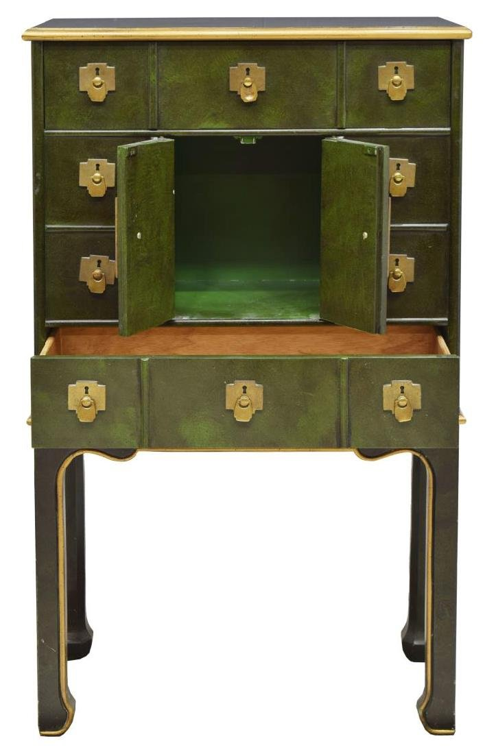 ASIAN APOTHECARY-STYLE PARCEL GILT CHEST ON STAND - 2
