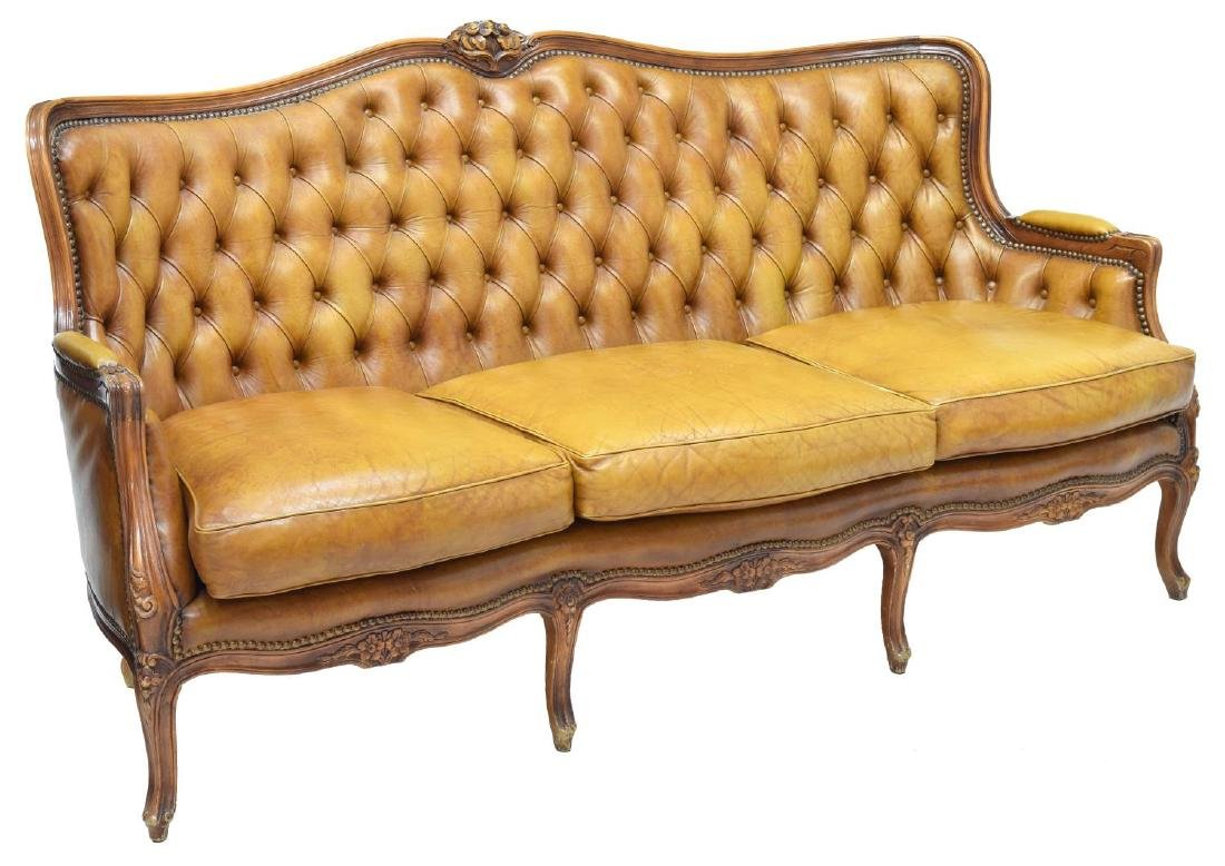 LOUIS XV STYLE BUTTON BACK LEATHER SOFA