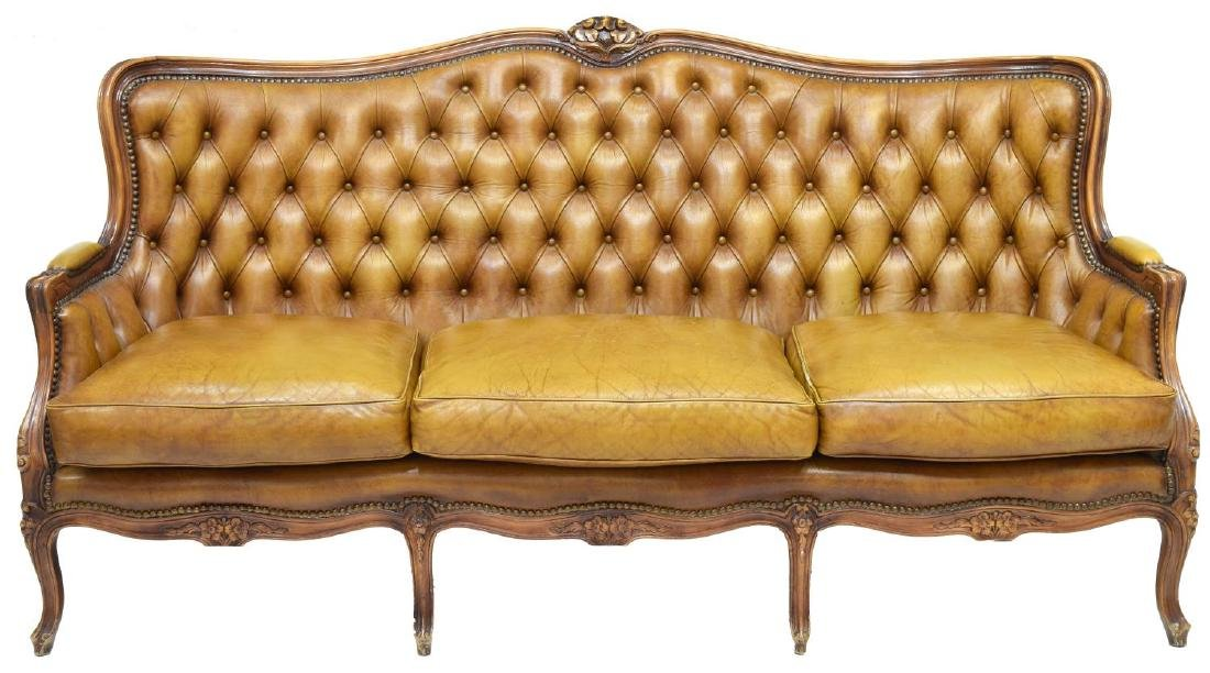 LOUIS XV STYLE BUTTON BACK LEATHER SOFA - 2