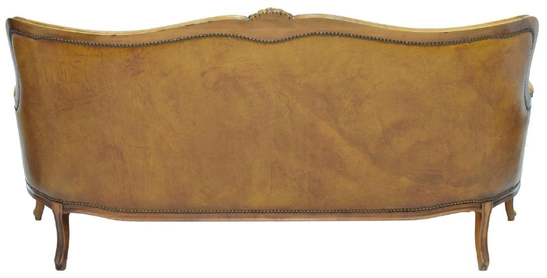 LOUIS XV STYLE BUTTON BACK LEATHER SOFA - 3