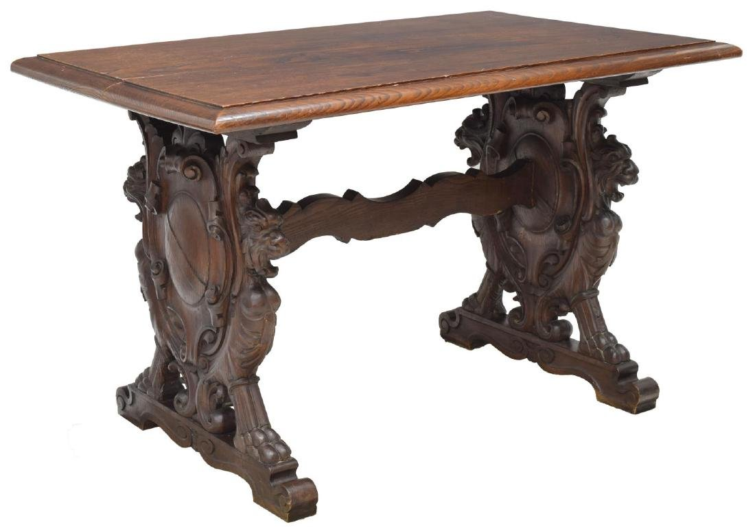 FRENCH OAK LIBRARY TABLE, CARVED GRIFFINS