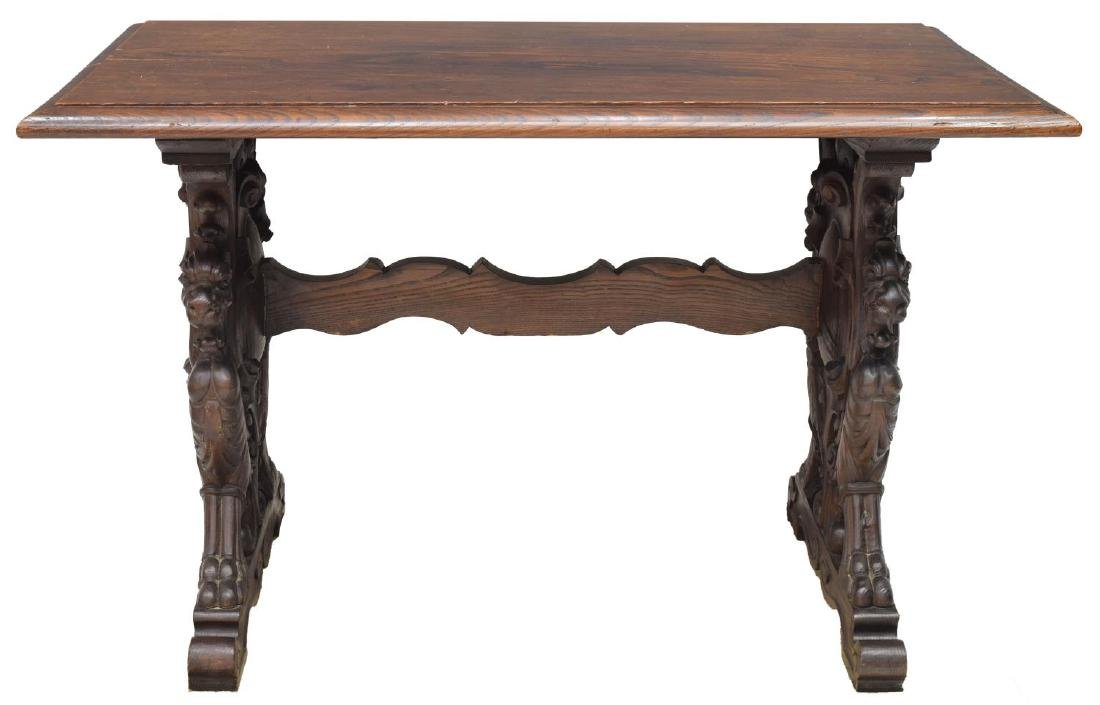 FRENCH OAK LIBRARY TABLE, CARVED GRIFFINS - 2