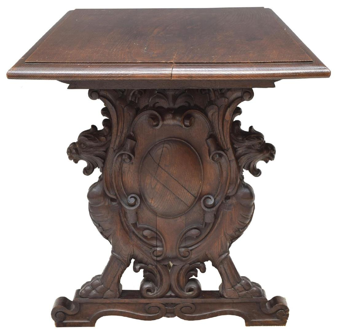 FRENCH OAK LIBRARY TABLE, CARVED GRIFFINS - 4