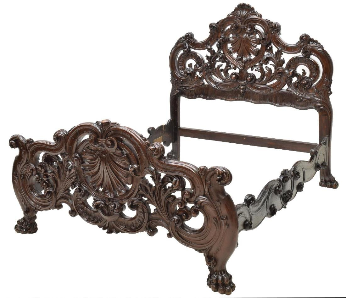 ITALIAN BAROQUE STYLE HEAVILY CARVED BED