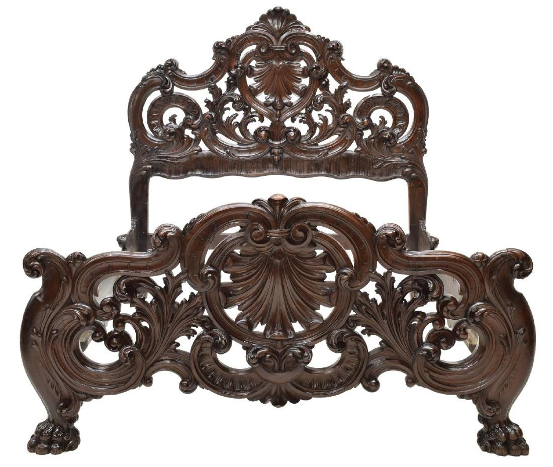 ITALIAN BAROQUE STYLE HEAVILY CARVED BED - 2
