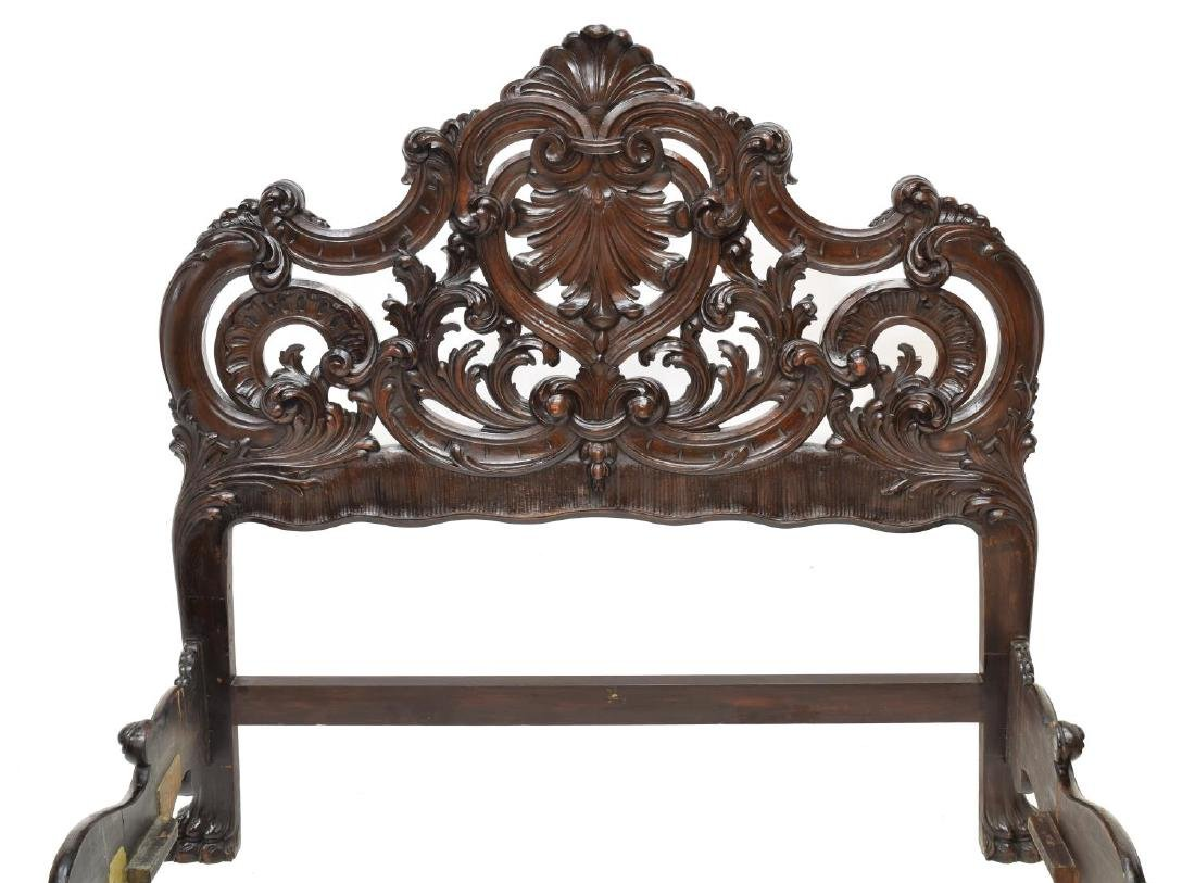 ITALIAN BAROQUE STYLE HEAVILY CARVED BED - 3
