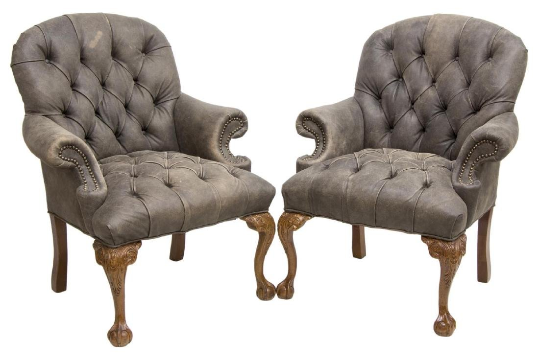 (2) FAIRFIELD LEATHER BUTTONED ARM CHAIRS