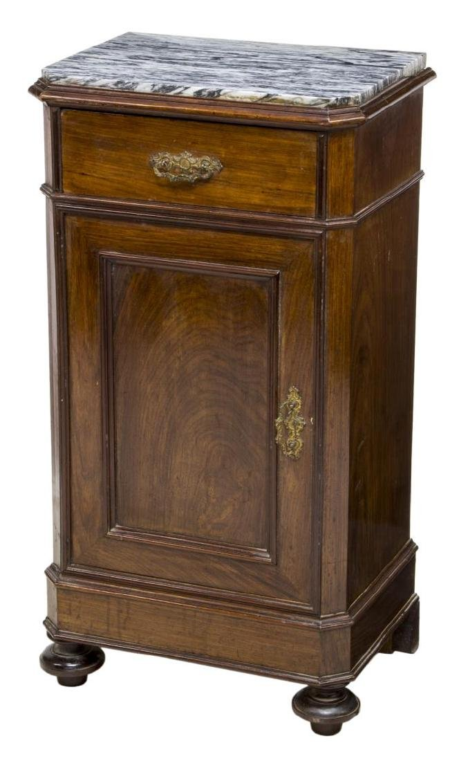 LOUIS PHILIPPE STYLE MARBLE TOP BEDSIDE CABINET