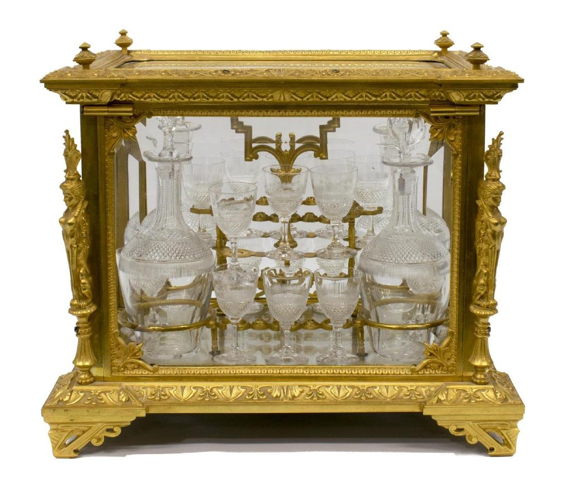 FRENCH DORE BRONZE & CRYSTAL TANTALUS SET - 2
