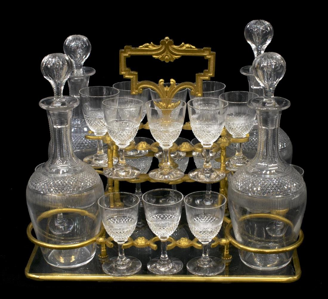 FRENCH DORE BRONZE & CRYSTAL TANTALUS SET - 7