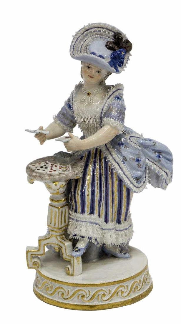 MEISSEN PORCELAIN FIGURE, GIRL SERVING CARDS, F64