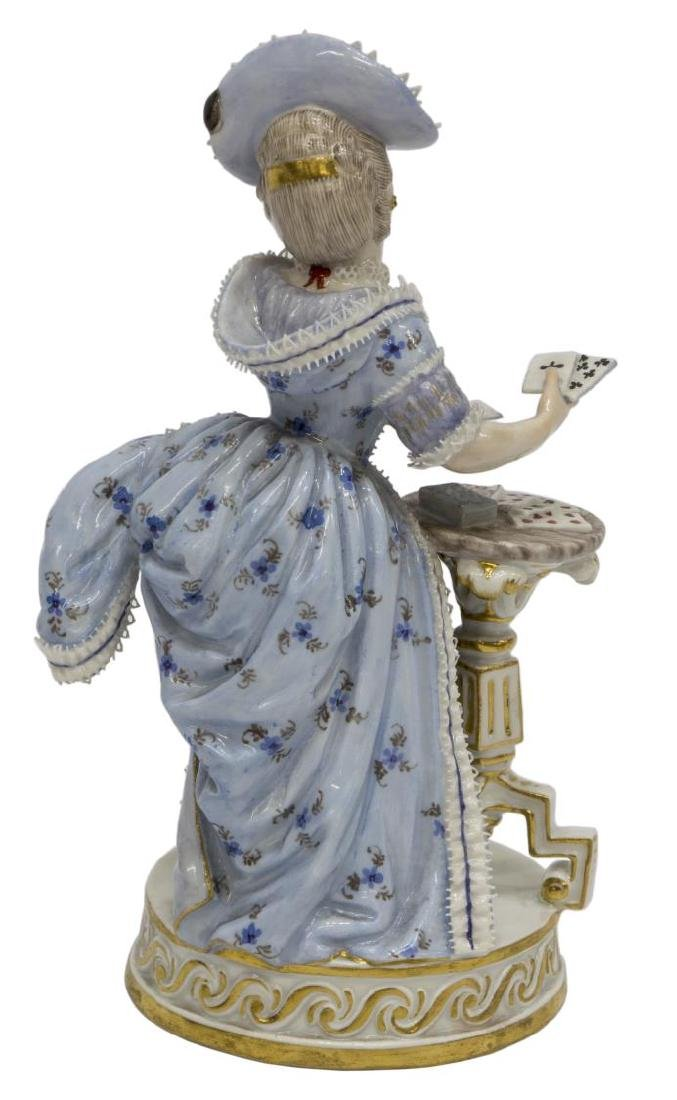 MEISSEN PORCELAIN FIGURE, GIRL SERVING CARDS, F64 - 2