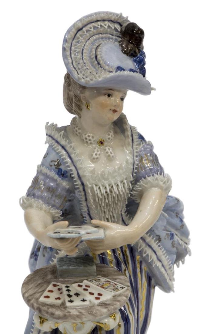 MEISSEN PORCELAIN FIGURE, GIRL SERVING CARDS, F64 - 3