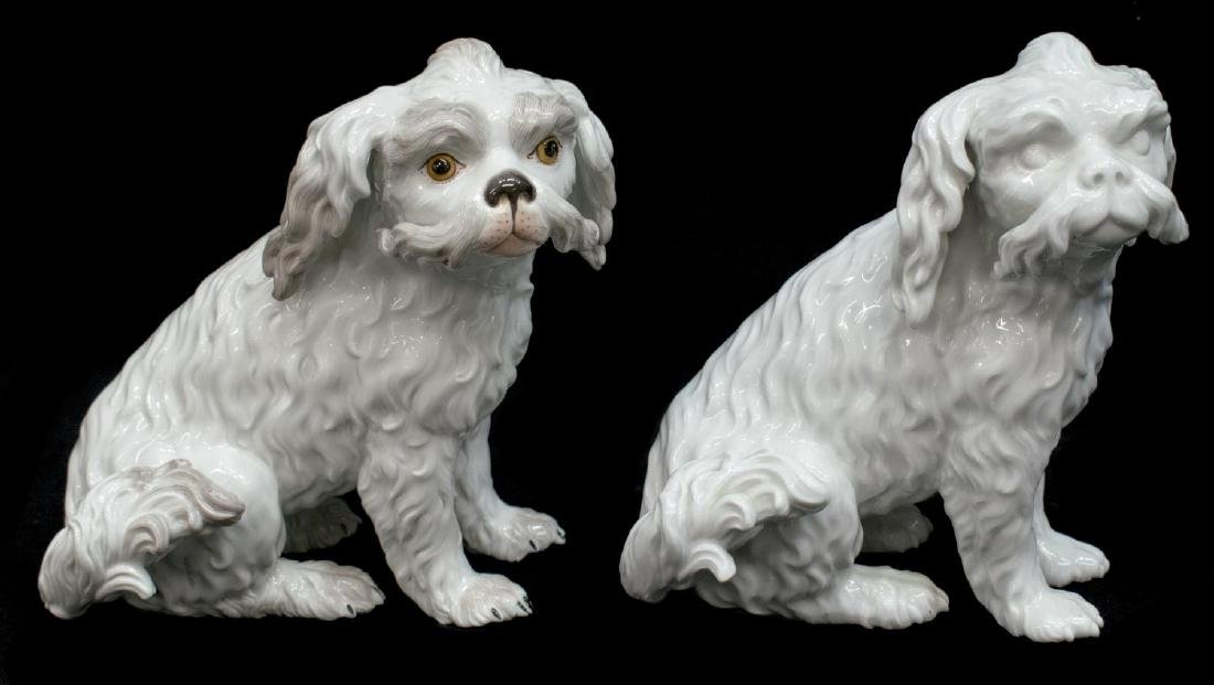 (2) MEISSEN PORCELAIN FIGURE BOLOGNESE DOG